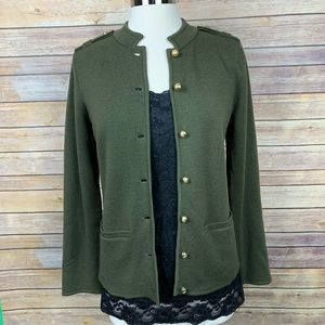 Talbots S Green Military Inspired Sweater Jacket